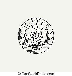 nuit, nature, brûler, vendange, camp, vecteur, barbecue., affiche, exploration