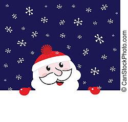 nuit, neiger, fond, hiver, -, bannière santa, vecteur, vide
