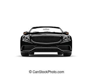 nuit, noir, moderne, luxe, voiture convertible, -, vue frontale