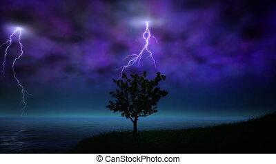 nuit, orage, boucle, éclair
