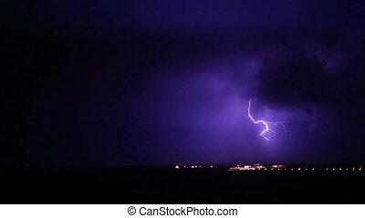 nuit, -, orage, orage, éclair