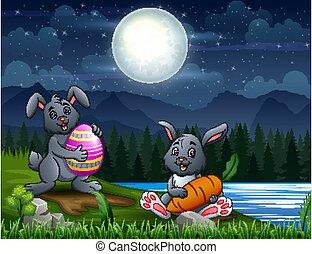 nuit, paques, paysage, lapins, heureux