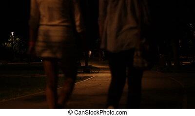 nuit, parc, promenade