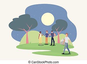 nuit, parc, scène, gens