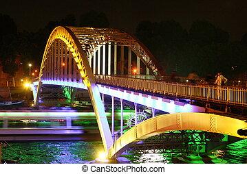 nuit, paris, -, pont