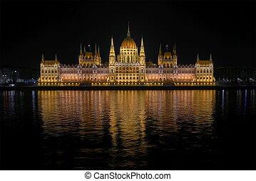 nuit, parlement, détail, bâtiment