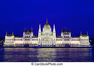 nuit, parlement, hongrie, budapest