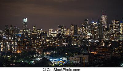 nuit, paysage, éclairé, temps, toronto., urbain