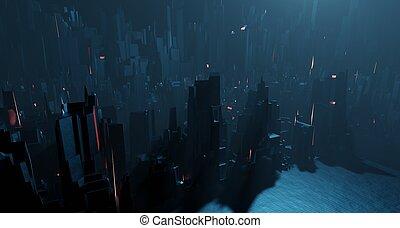 nuit, paysage, fantastique, surréaliste, rendre, vue., sci-...