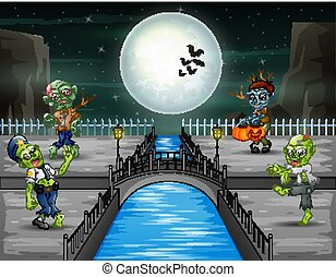 nuit, paysage, halloween, zombies