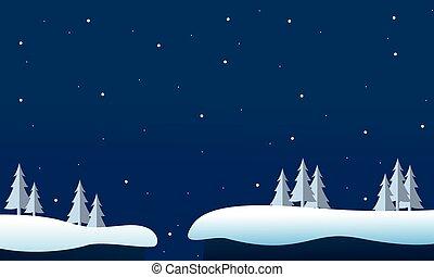 nuit, paysage hiver, noël