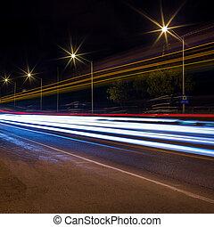 nuit, pistes, lumière