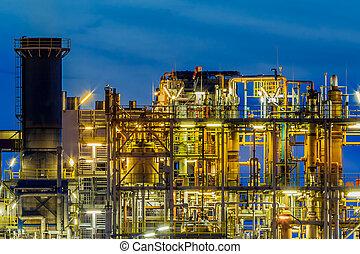 nuit, plante, détail, profil, cadre, chimique, industriel
