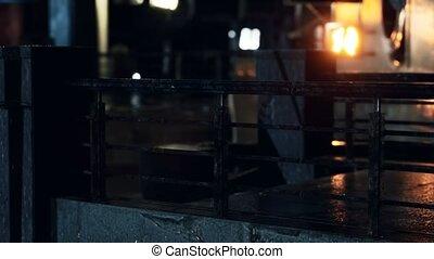 nuit, pluvieux, néon allume