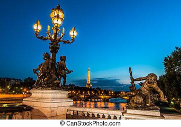 nuit, pont, paris, ville, alexandre, iii, france