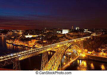 nuit, portugal, douro, pont, sur, rivière, luis, porto