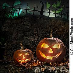 nuit, potirons, halloween, rochers