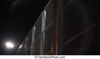 nuit, prison, barrière, fil