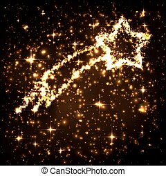 nuit, queue, résumé, scintillement, ciel, tomber, doré, étoile