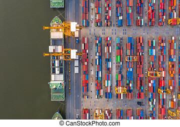 nuit, récipient, fret, aérien, transport, business, importation, bateau, exportation, logistique, cargaison, vue.