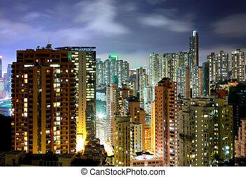 nuit, résidentiel, bâtiment