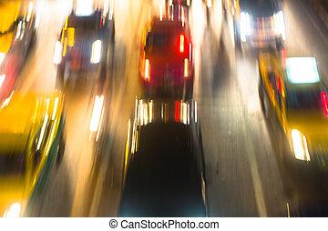 nuit, résumé, city., foyer., trafic, autoroute, brouillé, grand, dehors