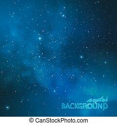 nuit, résumé, stars., espace, laiteux, ciel, fond, illustration, manière, vecteur, extérieur