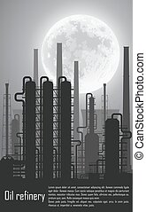 nuit, raffinerie gaz, huile