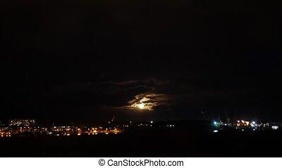 nuit, riga, ciel, lune