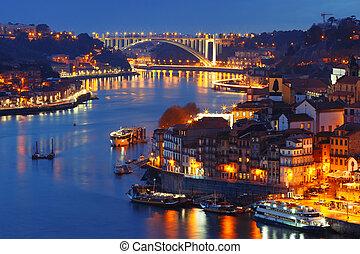 nuit, rivière, ville, vieux, douro, portugal., porto
