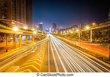 nuit, route, ville, pistes, lumière