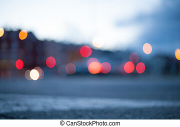nuit, rue, fond, -, grand, lumières, brouillé