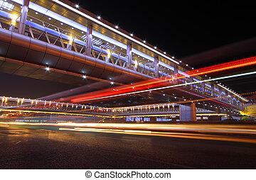nuit, rue, moderne, beijing, porcelaine, pistes, lumière