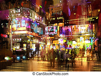 nuit, rue, peinture