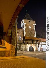 nuit, ruelle, mystérieux, lanternes, étroit, krakow