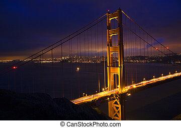 nuit, san, portail, doré, pont, francisco, californie
