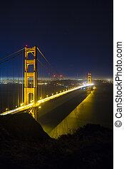 nuit, san, portail, doré, pont, francisco