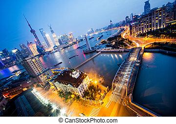 nuit, shanghai, porcelaine, vue