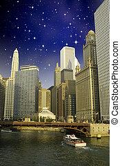 nuit, sien, rivière, chicago