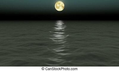 nuit, sky., moon., beau, mer