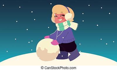 nuit, snowscape, vêtements hiver, boule de neige, scène, jouer, porter, girl