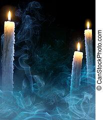 nuit sorcières parti, fond, art, bougies