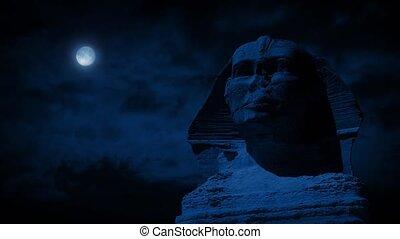 nuit, sphinx, statue, lune