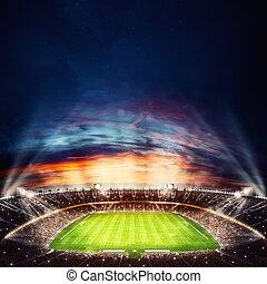 nuit, stade, lumières, rendre, vue, sommet, football, on., 3d