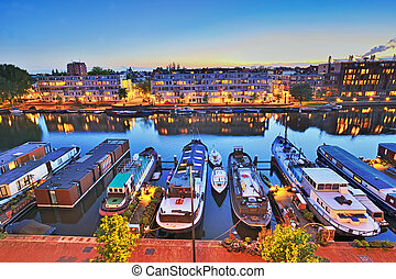 nuit, sur, amsterdam, ville