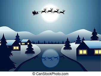 nuit, survoler, arbre, claus, santa, noël, rivière, cadeau, autour de, renne, everyone, envoyer, colline, village