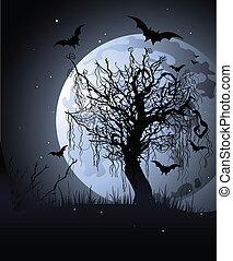 nuit, terrifiant, arbre