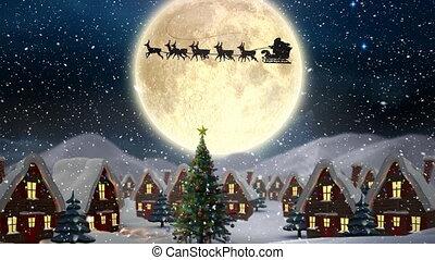 nuit, traîneau, composition, vidéo, neige, sur, hiver, santa...