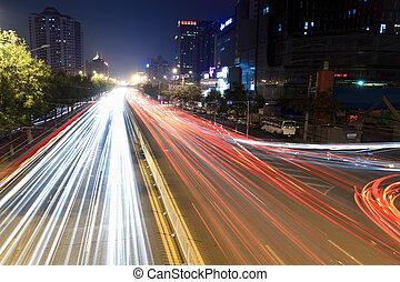 nuit, trafic, heure, pistes, lumière, jonc