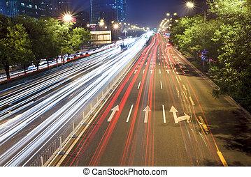 nuit, trafic, heure, scène, beijing, jonc